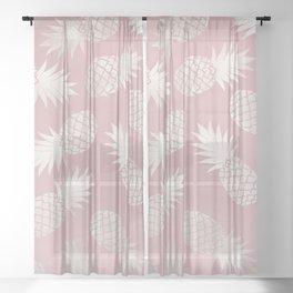 Blush Pineapple Pattern Sheer Curtain