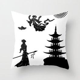 Lady White Snake - Bai Suzhen escapes Throw Pillow