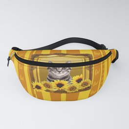 Tiger Cat yellow sunflower frame butterfly stripes Fanny Pack