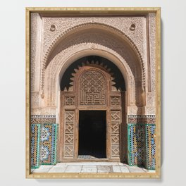 Ornate Archway Door in Marrakech, Morocco - Cream, White, Teal, Turquoise Mosaic Islamic Muslim Temple Architecture Doorway Door Arch Unique Entrance Serving Tray