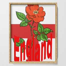 St George Flag With English Rose For England Fans Serving Tray