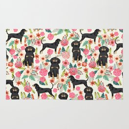 Coonhound floral pattern dog breed customized pet portrait gifts for dog lover Rug