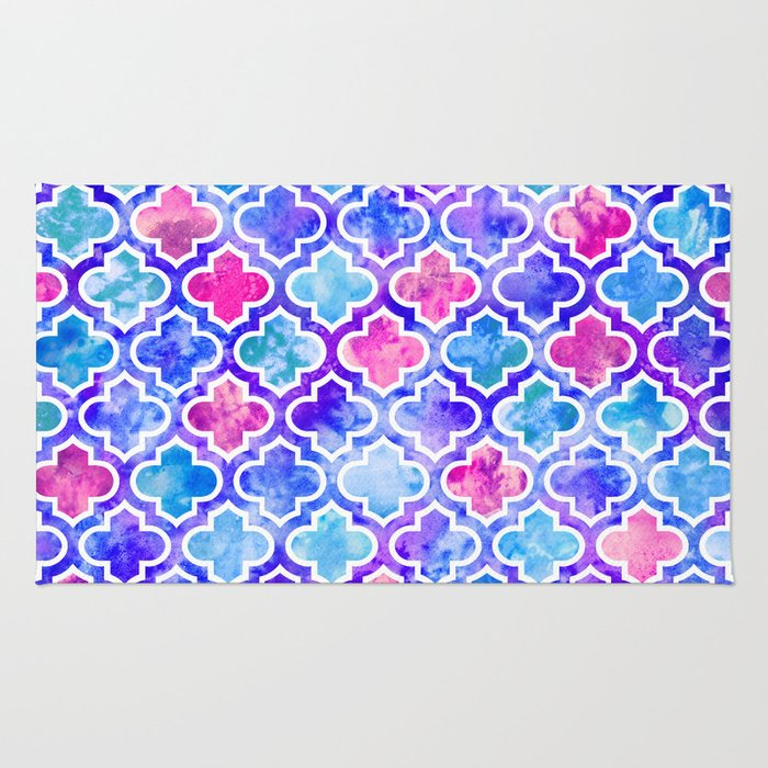 Watercolor Moroccan Print Pinks and Blues Rug