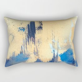 Lemon drop: a minimal, abstract mixed-media piece in yellow and blue Rectangular Pillow