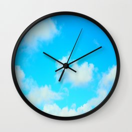 White Clouds Bright Blue Sky Wall Clock