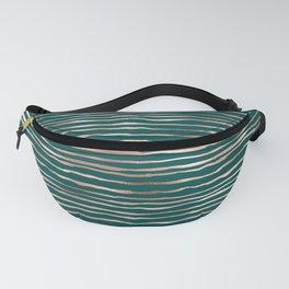 Teal & Bronze Stripe Pattern Fanny Pack