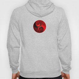 Red and Black Tree of Life Yin Yang Hoody