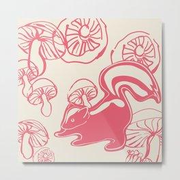 skunk with mushrooms Metal Print