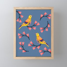 Cute folk birds on blue background. Framed Mini Art Print
