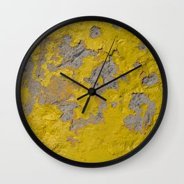 Yellow Peeling Paint on Concrete 1 Wall Clock