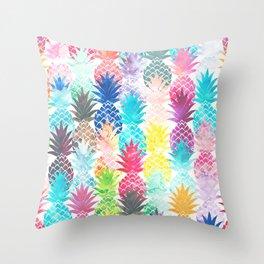 Hawaiian Pineapple Pattern Tropical Watercolor Throw Pillow