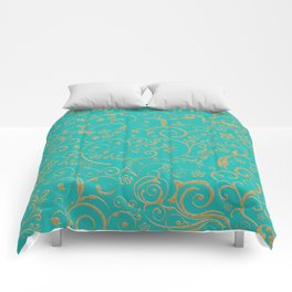 Gold and turquoise Comforters