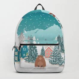 Rural winter landscape with houses, mountain and cute groundhog Backpack
