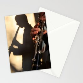 Shadow of a clarinetist Stationery Cards