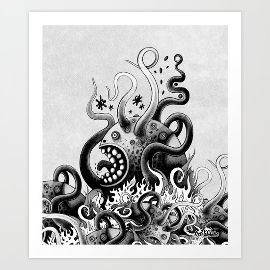 Dark Octoworm Art Print