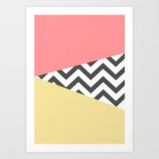 Color Blocked Chevron 2 Art Print