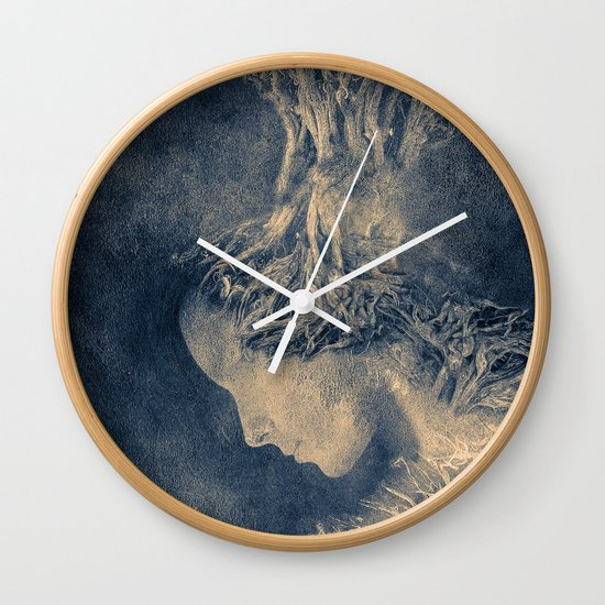 Dark portrait II  (colour option) Wall Clock