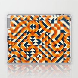 Orange Navy Color Overlay Irregular Geometric Blocks Square Quilt Pattern Laptop & iPad Skin