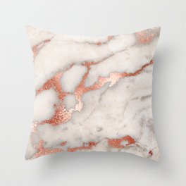 Rose Gold Marble Blush Pink Copper Metallic Foil Throw Pillow