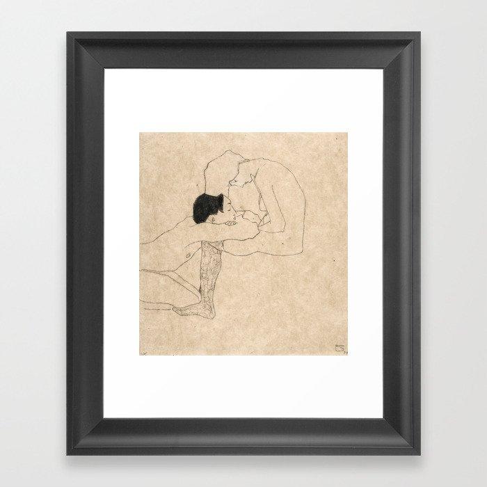 "Egon Schiele ""Lovers"" Gerahmter Kunstdruck"