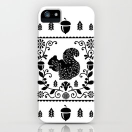 Woodland Folk Black And White Squirrel Tile iPhone Case