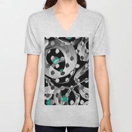 Abstract black white green watercolor brushstrokes Unisex V-Neck