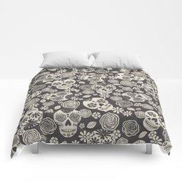 Sugar Skulls - Black & White Comforters