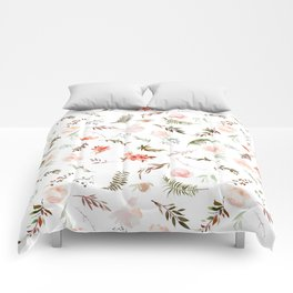 Coral pink green watercolor hand painted floral Comforters