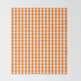 Classic Pumpkin Orange and White Gingham Check Pattern Throw Blanket
