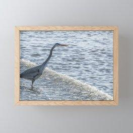 Great Blue Heron and Wave Framed Mini Art Print