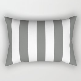 Nickel grey -  solid color - white vertical lines pattern Rectangular Pillow