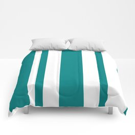 Mixed Vertical Stripes - White and Dark Cyan Comforters