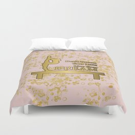 Live Your Dream Golden Gymnastics Graphic Design Duvet Cover