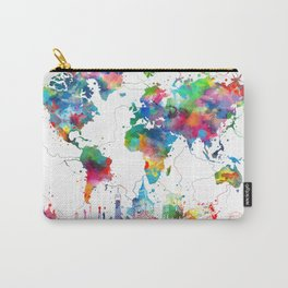 world map watercolor collage Carry-All Pouch