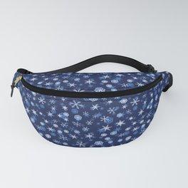 True Blue Snowflake Pattern Fanny Pack