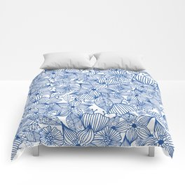 Modern royal blue white hand painted watercolor floral Comforters