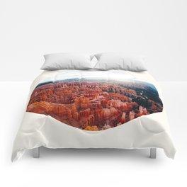 Mid Century, Modern, Round, Circle Photo, Jagged, Orange, Grand Canyon Comforters