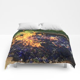Fire on Blue Comforters