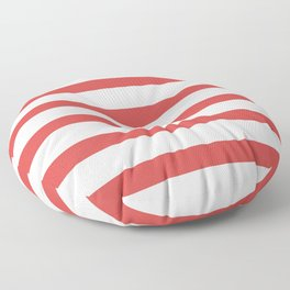 Red Stripes on White Background Floor Pillow
