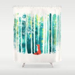Fox in quiet forest Shower Curtain