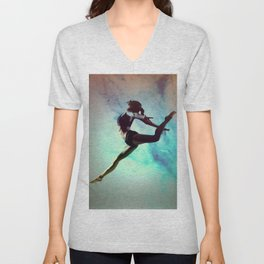 Ballet Dancer Feat Lady Dreams Abstract Art Unisex V-Neck