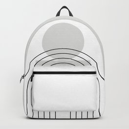 Geometric Lines and Shapes in Black and Grey (Sun and Rainbow Abstract) Backpack