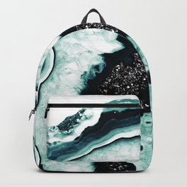 Icy Blue Agate with Black Glitter #1 #gem #decor #art #society6 Backpack