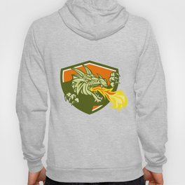 Dragon Head Fire Crest Retro Hoody