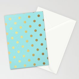 Gold polka dots on aqua background - Luxury turquoise pattern Stationery Cards