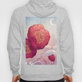 Christmas Roses :: Red Petals, Frosted Leaves Hoody
