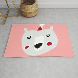 Cute holiday bear pink Rug