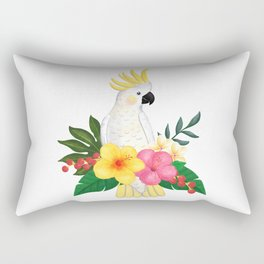 Tropical Cockatoo Floral Watercolor Rectangular Pillow