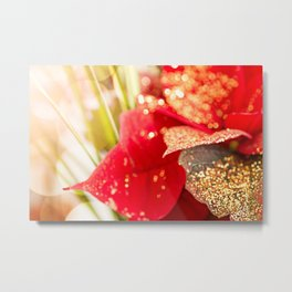 Poinsettia leaf with golden glitter in Christmas holidays Metal Print
