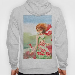 Poppy Girl in Poppies Summer Field Hoody